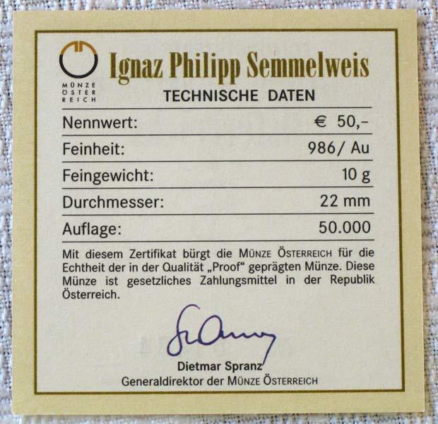 Ignaz Philipp Semmelweis 2008 10 gram Gold Proof Coin | eBay